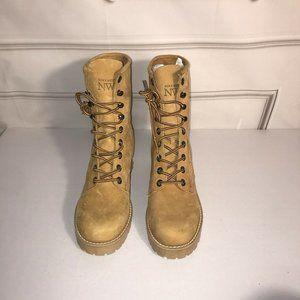 Nine west tan suede combat boot